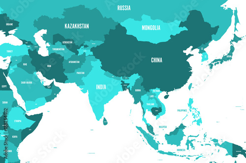 Political map of western, southern and eastern Asia in ...