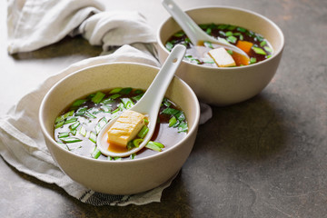 Miso soup in two bowls