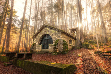 Small chapel in forest at Vizzavona in Corsica Wall mural