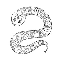 Snake. Vector illustration. Doodle. Black and white colouring book. Anti stress illustration design. Isolated on white.