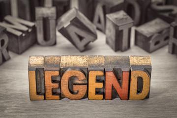 legend word in letterpress wood type