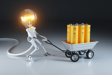 Cartoon personage lamp robot and trolley with batteries. Waste recycling plant