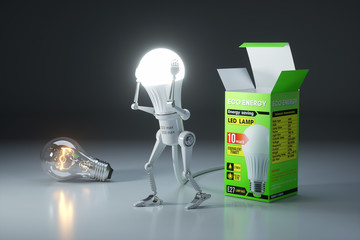 Robot bulb replacement a traditional lamp to an energy saving LED lamp.