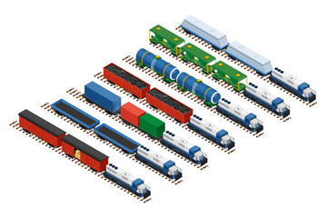 Vector isometric illustration of a set of railway trains consisting of locomotives, platforms for transportation of containers, covered wagons, cisterns, and rail cars for bulk cargoes.