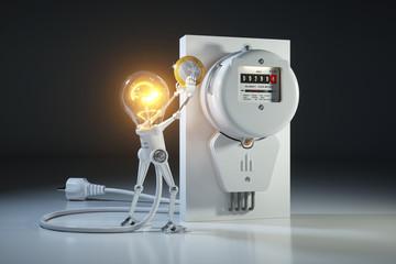 Cartoon character bulb light robot pays tariffs utility in kilowatt hour meter