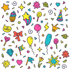 Vector set of Birthday party with celebration elements. Hand drawn party background for wrapping paper, textile, web page background, packaging, poster, banner.