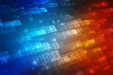 Digital Abstract technology background, binary code background. 3d rendering