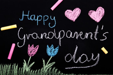 Happy Grandparents day card - Chalk drawing on blackboard