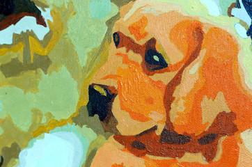 собака нарисована кистью и красками