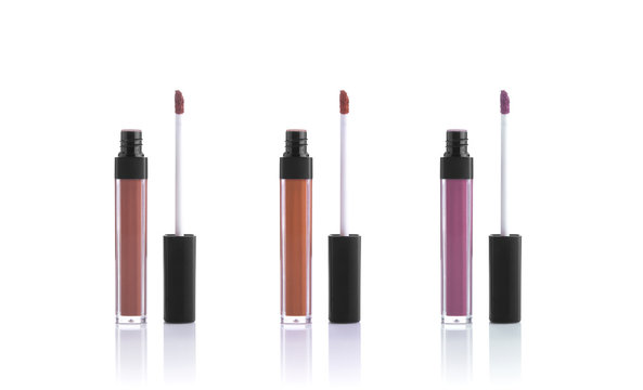 set color lipgloss isolated on white background. cosmetic for lip.