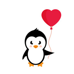 cartoon lovely penguin with balloons