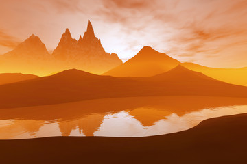 Sunset, a beautiful  landscape, mountains and rocks and reflection on the river.
