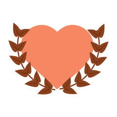 love heart wreath emblem romantic image vector illustration