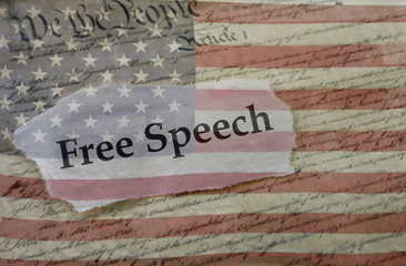 Free Speech, Constitution and flag