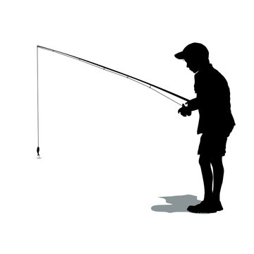 Silhouette of boy in t-shirt and shorts with a fishing rod. Fishing in the sea or on a river