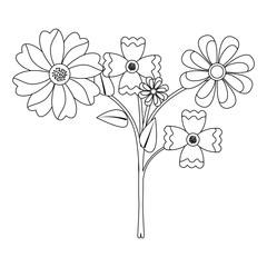 beauty floral arrangement natural decoration vector illustration outline
