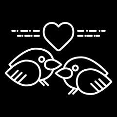 Valentine Day lover bird icon, Vector flat design. Fall in love