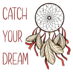 "Hand drawn vector dreamcatcher with red ribbons and ""catch your dream"" saying isolated on white background."