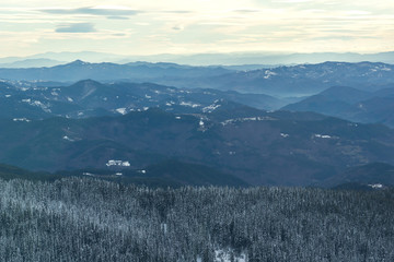 Amazing winter landscape of Rhodope Mountains near pamporovo resort, Smolyan Region, Bulgaria