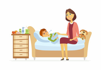 Mother with an ill boy - cartoon people characters illustration