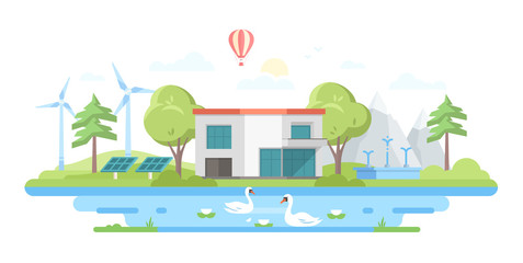 Landscape with a pond - modern flat design style vector illustration
