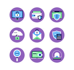 Information security, data protection - set of flat design style icons