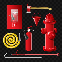 Firefighting equipment - set of realistic vector isolated objects