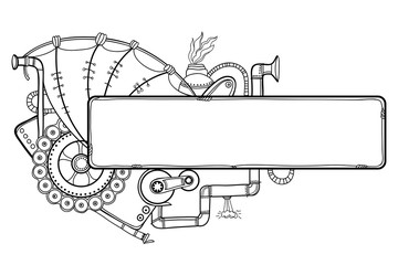 Vector drawing of outline steampunk horizontal frame with mechanical gears and pipes in black isolated on white background. Contour composition for steampunk design and coloring book.