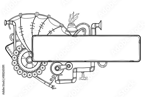 Vector Drawing Of Outline Steampunk Horizontal Frame With Mechanical Gears And Pipes In Black Isolated On