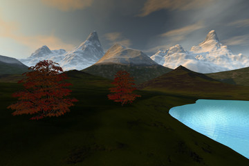 Lake, an alpine landscape, snow in the mountains, grass on the ground and a beautiful sky.