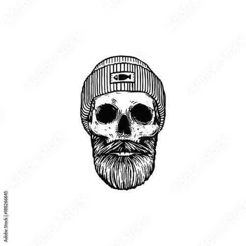 Fisherman skull with beard and skull cap  Monochrome vector illustration aac37822516