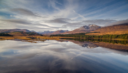 landscape view of scotland and loch tulla in the remote highlands of scotland during winter from an aerial viewpoint in panoramic landscape foramt