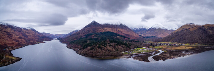 landscape view of scotland and glencoe village from an aerial viewpoint in landscape format
