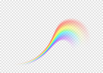 Rainbow curl isolated on transparent background
