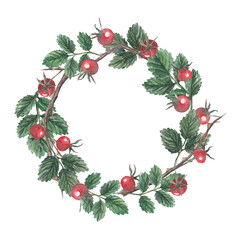 Watercolor card, briar wreath