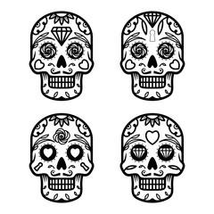 Set of monochrome sugar skulls