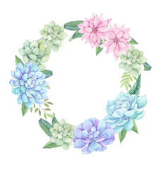 Watercolor illustration - wreath of succulents, flowers and leaves. Succulent and cactus clipart. Perfect for Wedding invitation, greeting card, postcard, poster, textile, print etc.