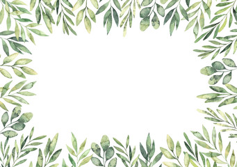 Hand drawn watercolor illustration. Botanical rectangular border with green branches and leaves. Spring mood. Floral Design elements. Perfect for invitations, greeting cards, prints, posters