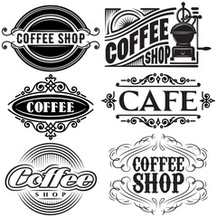 set of vector templates in different retro styles for advertising coffee