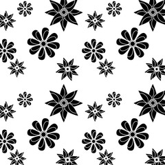 flower floral pattern image vector illustration design  black and white