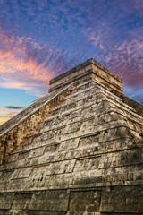 Kukulkan pyramid in Chichen Itza at sunset, Mexico