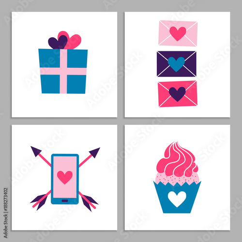 set of cute romantic templates collection of flat illustrations