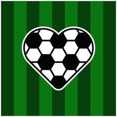 Socerr love icon on grass
