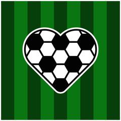 Socerr love icon on grass
