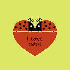 Heart, ladybugs, love. Valentine's day. Vector illustration