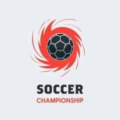 Soccer Football Logo Template. Modern Sport Ball Emblem inside Swirl Design on a Light Background