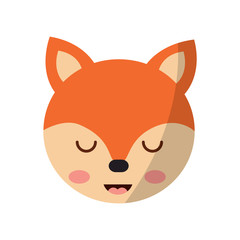 cute fox head animal close eyes cartoon vector illustration