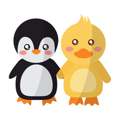 cute animals penguin and duck holding hands vector illustration