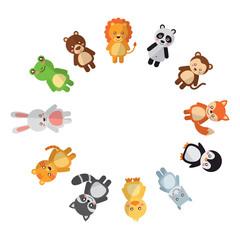cute animals circle wildlife cartoon image vector illustration