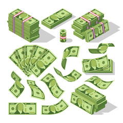 Cartoon money bills. Green dollar banknotes cash vector icons